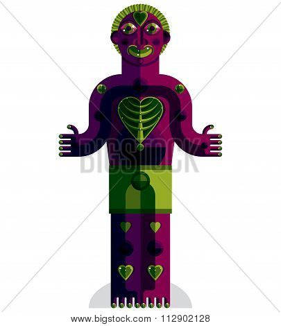 Vector Avant-garde Illustration Of Mythic Person, Pagan Symbol.  Modernistic Graphic Picture