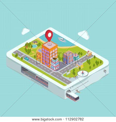 Flat map GPS navigation City Center