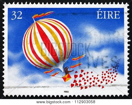 Postage Stamp Ireland 1993 Balloon And Hearts, Greetings Stamp