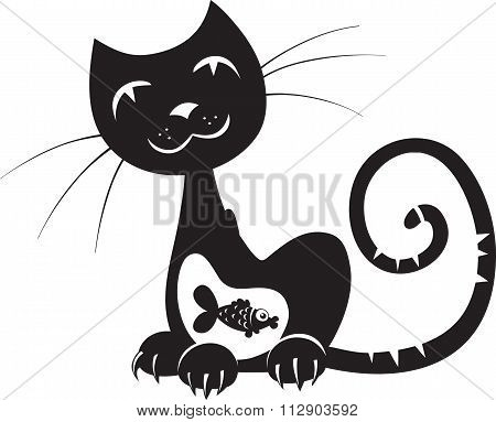 Silhouette Of A Cat With Fish In His Stomach