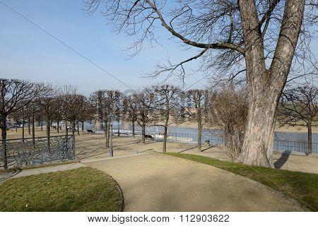 View From Bruhl's Garden Towards Augustus Bridge, Dresden, Saxony, Germany.