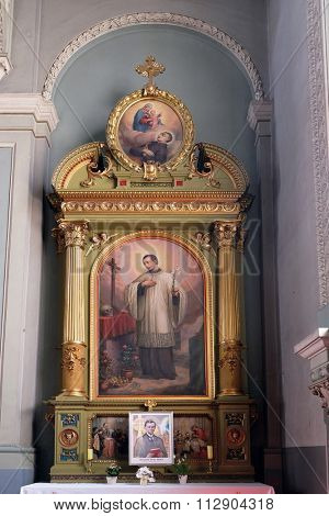 ZAGREB, CROATIA - MAY 28: Saint Aloysius Gonzaga altar in the Basilica of the Sacred Heart of Jesus in Zagreb, Croatia on May 28, 2015