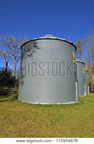 Steel bins for storing grain