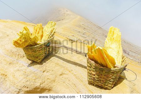 Basket full of sulfur nuggets at top of a volcano in Indonesia