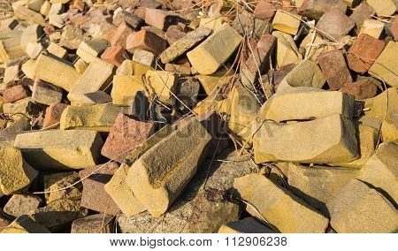 Landfill Of Failed Bricks From A Brick Factory