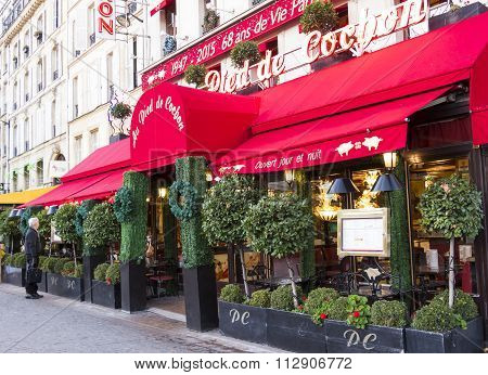 The Restaurant Au Pied Du Cochon, Paris, France.