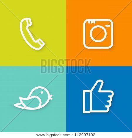 phone, camera, bird, hand icon set