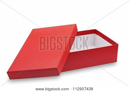 Red open cardboard box on white background