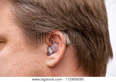 Ear Close Up With Hearing Aid