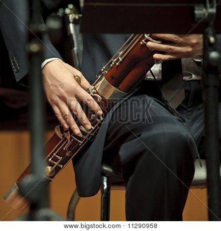 bassoonist on concert