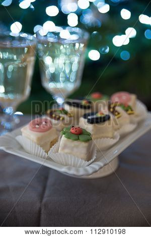 New Years Eve celebration background with petite fours