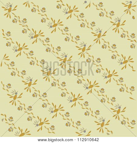 The sloping background, floral. Orange, blue and leaves, khaki thin outlines on a beige background