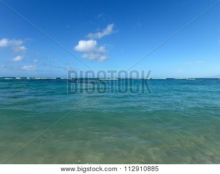 Shallow Ocean Waters Of Waikiki Looking Into Ocean