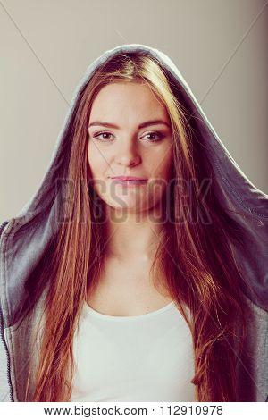 Portrait Of Pretty Teenager Girl In Hood.