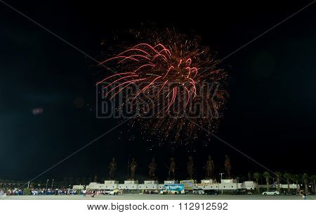 Hua Hin ,thailand - Jan1,2016 : Firework Celebrate  New Year At The Statues Of Seven King Of Thailan