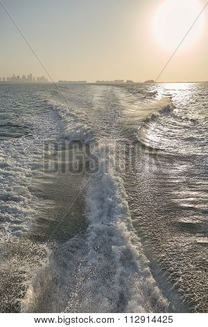 Boat wake, trail in sea after fast moving