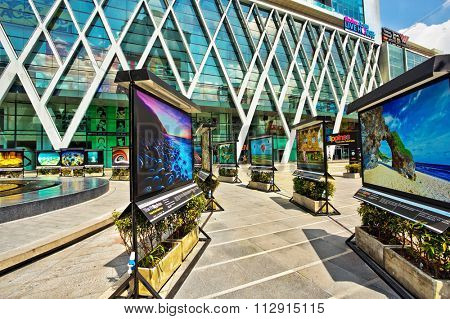 BANGKOK, THAILAND- APRIL 29, 2015: exhibition Philippines photographs near Central World Plaza. It is shopping plaza which is the sixth largest shopping complex in the world, owned by Central Pattana