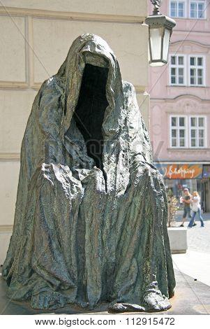 Prague, Czech Republic - April 25, 2010:  Il Commandatore Or Cloak Of Conscience (sculptor Anna Chro