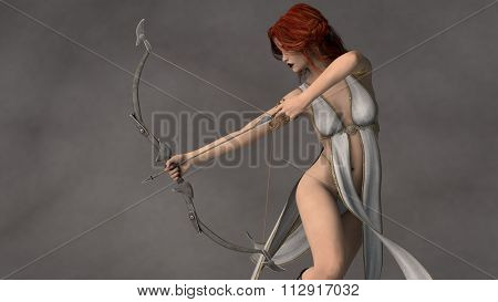 young beautiful fantasy archer girl