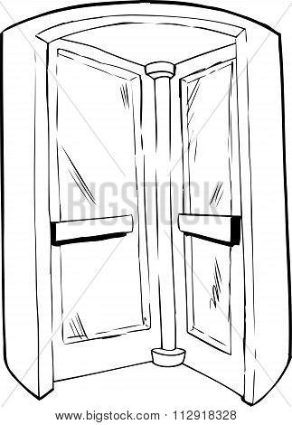 Interior Of Revolving Door Outline