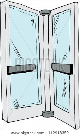 Isolated Revolving Door Pane