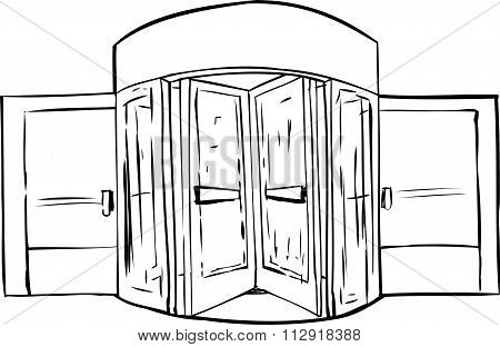 Outlined Revolving Door Background