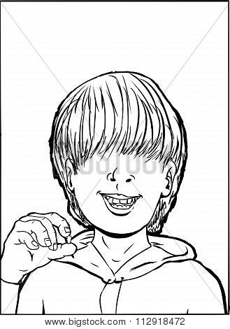 Outline Of Boy Holding Tooth