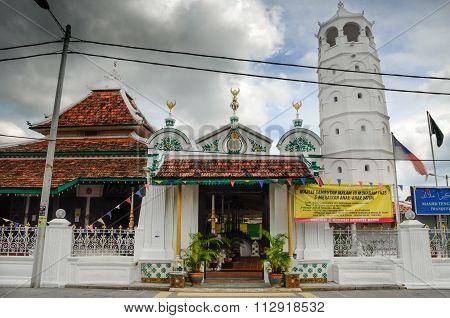 Tranquerah Mosque or Masjid Tengkera in Malacca, Malaysia