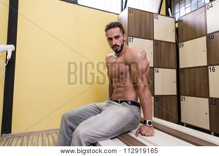 Portrait Of A Fit Man In Dressing Room