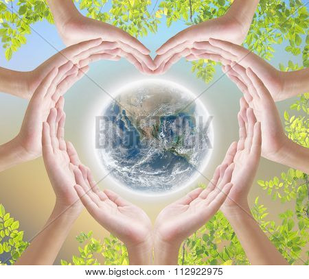 Hand heart shape earth and nature backgroud , element fineshed by naza