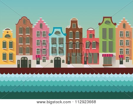 Colorful Amsterdam flat streets and channels seamless vector pattern.Colorful Amsterdam flat streets
