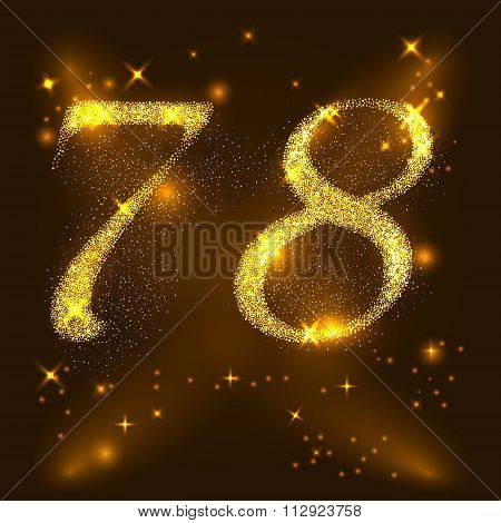 Alphabets Number 7 (seven) and 8 (eight) of gold glittering stars. Illustration vector