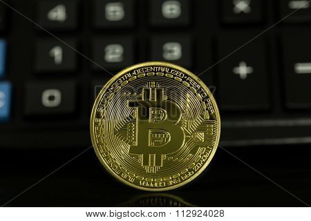 Bitcoin With Black Calculator