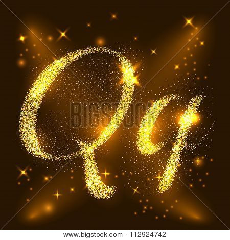 Alphabets Q and q of gold glittering stars. Illustration vector