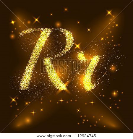 Alphabets R and r of gold glittering stars. Illustration vector