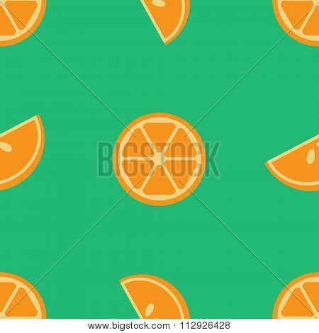 Vector seamless orange pattern with lobules or segments or sections of orange on green background. D