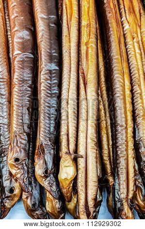 Food fresh smoked eels