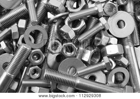 Industrial strong steel nuts bolts and washer mixture