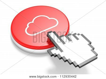Mouse Hand Cursor On Red Cloud Computing Button. 3D Illustration.