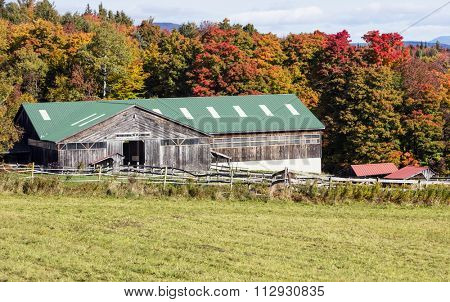 Barn in countryside during autumn