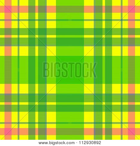 Vector seamless scottish tartan pattern in yellow green pink. British or irish celtic design for tex