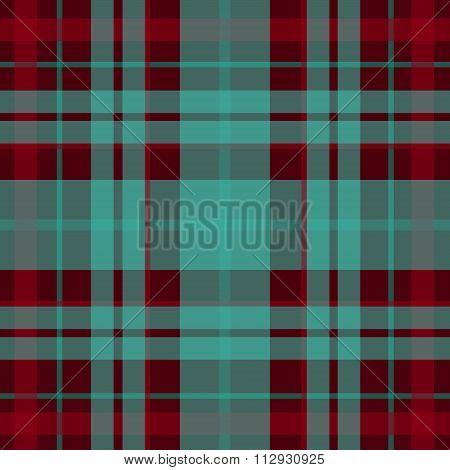 Vector seamless scottish tartan pattern in red turquoise black. British or irish celtic design for t