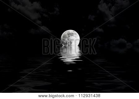 Dark Full Moon In Cloud With Water Reflection Closeup Showing The Details Of The Lunar
