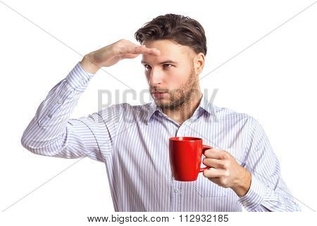 Handsome Businessman Holding Red Cup And Looking At Something Fa