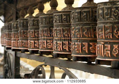 Mani wheel at Swayambhunath in Kathmandu Nepal