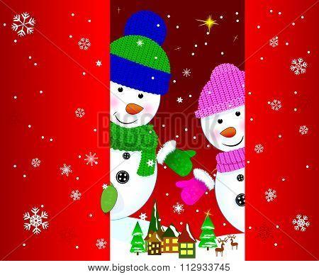 Two Snowmen Greeting Card