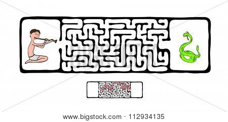 Maze, Labyrinth education Game for Children with Snake and Fakir