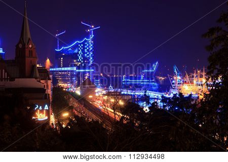 Concert hall Elbphilharmonie in Hamburg during blueport