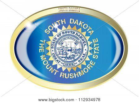 South Dakota State Flag Oval Button