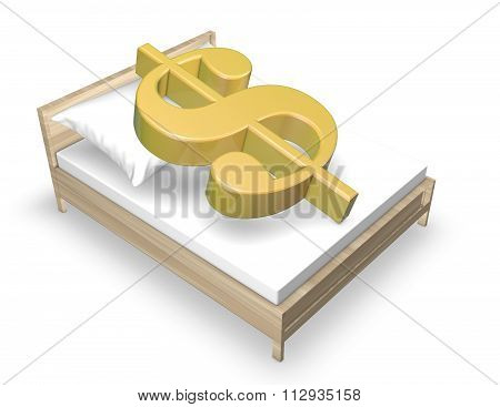 Dollar Economic Crisis Idea With Dollar Symbol And Bed.